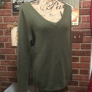 Deep Green Double V-Neck Liteweight Sweater